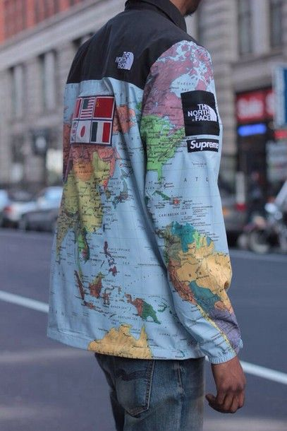 $425 Men's street style supreme jacket featuring map prints and a pair of washed up denims– be our stylish guest.