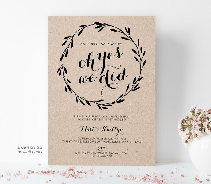 Elopement Announcement, Printable Elopement Invitation Template, Oh Yes We Did, We Eloped, Editable Text, Instant Download, PDF File #105EL by MintyPaperieShop on Etsy https://www.etsy.com/listing/486163845/elopement-announcement-printable