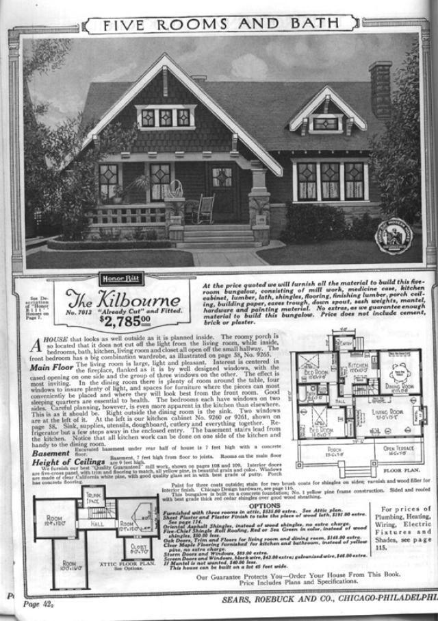 Sears Bungalows for Sale, 1921 Catalog House Plans: Sears Modern Home No. 7013, The Kilbourne, circa 1921