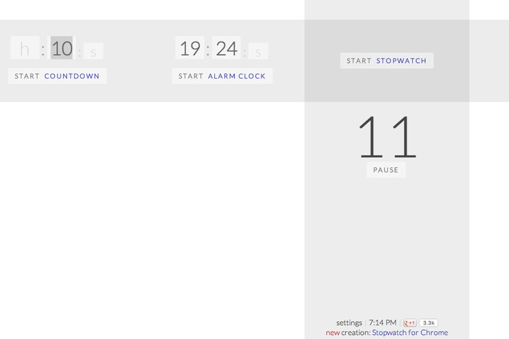 online timer, alarm clock, and/or stopwatch