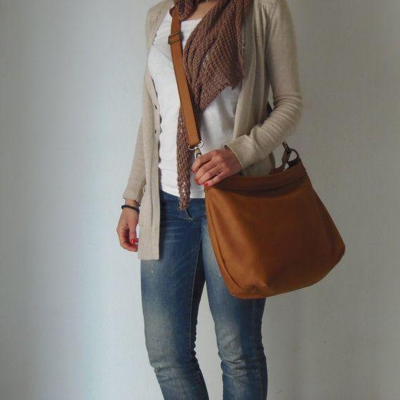 Leather hobo purse / women leather hobo bag / tan by Laroll
