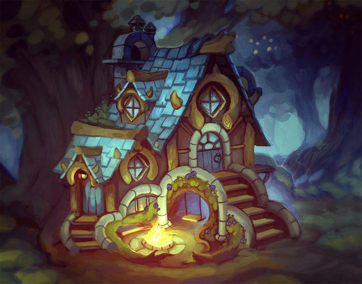 Forest house, Natália Chromá on ArtStation at https://www.artstation.com/artwork/forest-house-ca04559a-5100-412f-a4f4-8f98d2b92308
