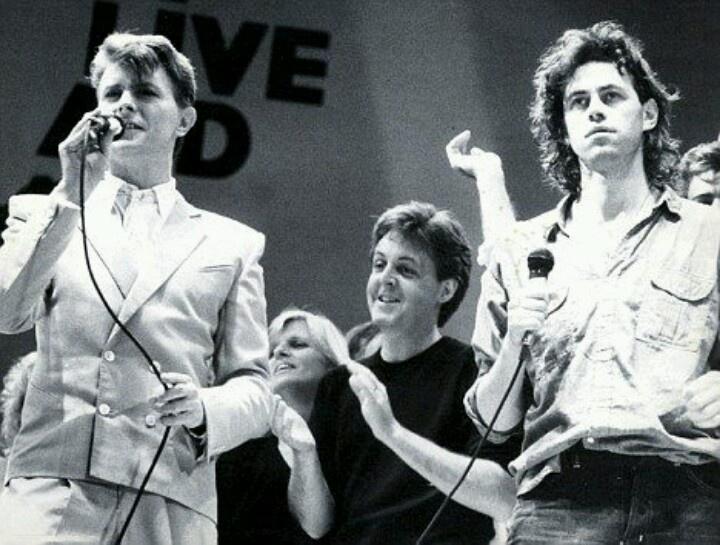 Live Aid 1985...David Bowie, Paul McCartney & Bob Geldof