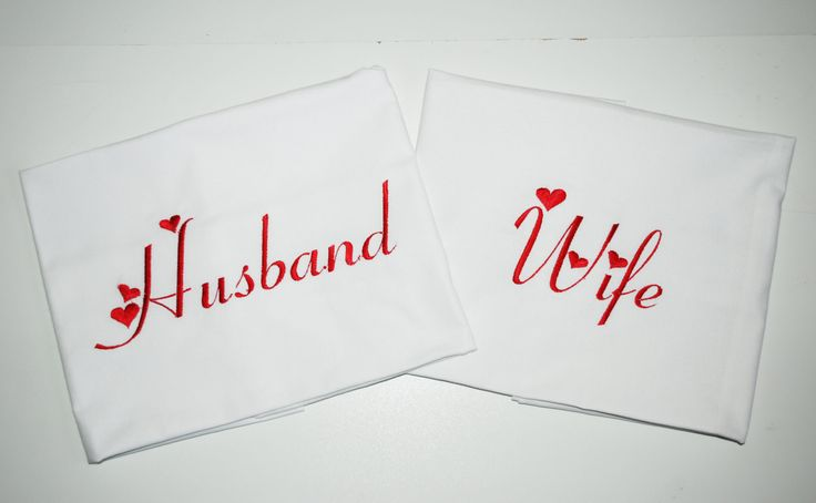 Husband and Wife pillow case, two pillowcases one with Husband embroidered and one with Wife embroidered by leonorafi on Etsy