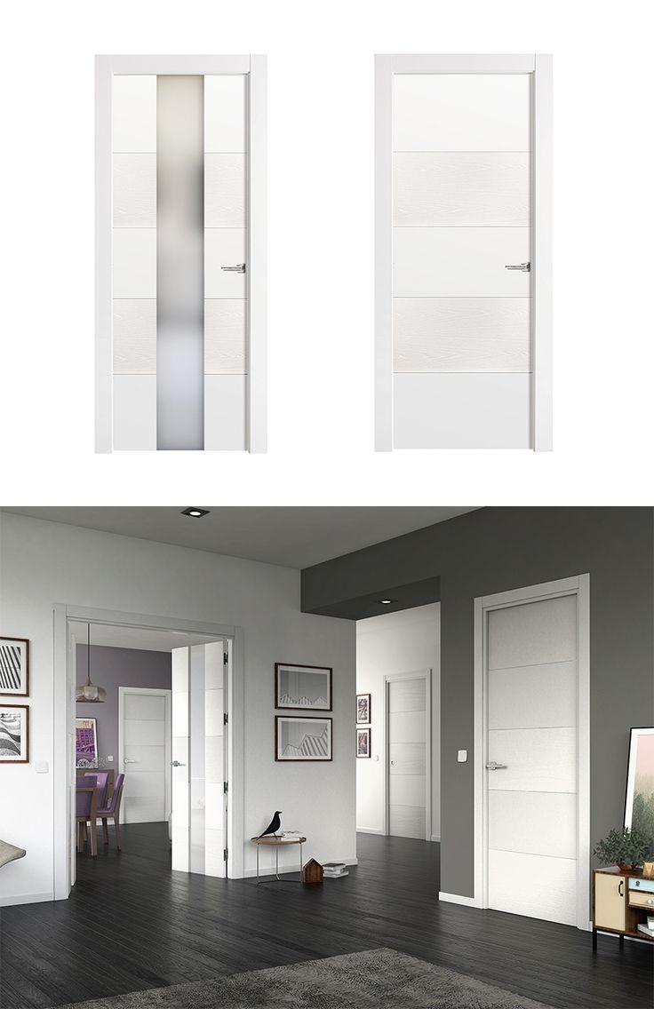Puerta de Interior Blanca | Modelo Vael de la Serie Imagin de Puertas Castalla. Puerta Lacada blanca