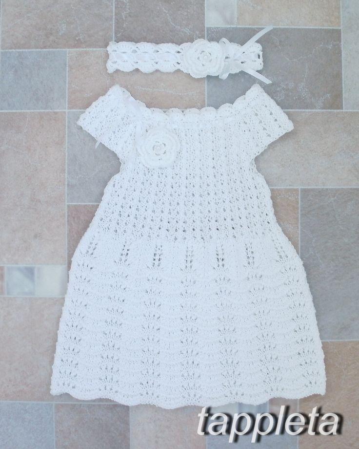 Платье, болеро и повязка для девочки на 1 год, день рождения, комплект, наряд для крещения, вязанное платье на лето, хлопок, белый by tappleta on Etsy