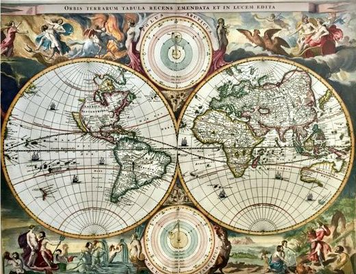 This finely executed world map in two hemispheres is beautifully decorated. Within each corner classic scenes representing the rape of Persephone, Zeus being carried across the heavens in an eagle-drawn chariot, Poseidon commanding his entourage, and Demeter receiving the fruits of the Earth. Two circular diagrams depicting the Ptolemaic and Copernican theories of the solar system are depicted at top and bottom between the hemispheres. The northern part of California (as an island) is…