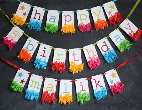 Glittery birthday banner idea for rainbow, carnival or circus theme party.  Colors can be customized to any theme really. Love the tissue paper embellishment!