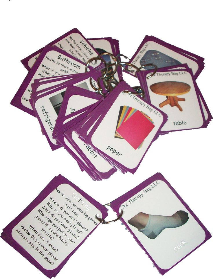 Wh-Question Vocabulary Cards: 125 photo cards with photos of common vocabulary on one side and a variety of question on the other. www.TheTherapyBag.com