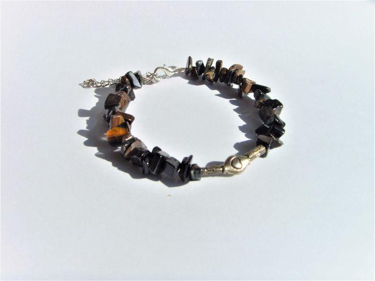 Bracelet Ethnique Perles Marrons et Argentées . : Bracelet par crea-mania