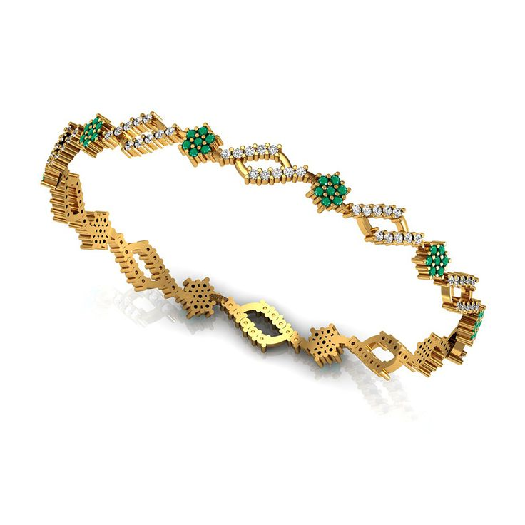 Vannajewels Collection Emerald Gemstone Designer Bangle Bracelet SGL Certified Diamond Pave Party Wear Jewelry Set in Solid 18k Yellow Gold