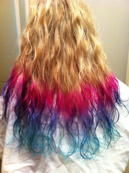 My new hair! Manic Panic turquoise, purple and pink! Love it!