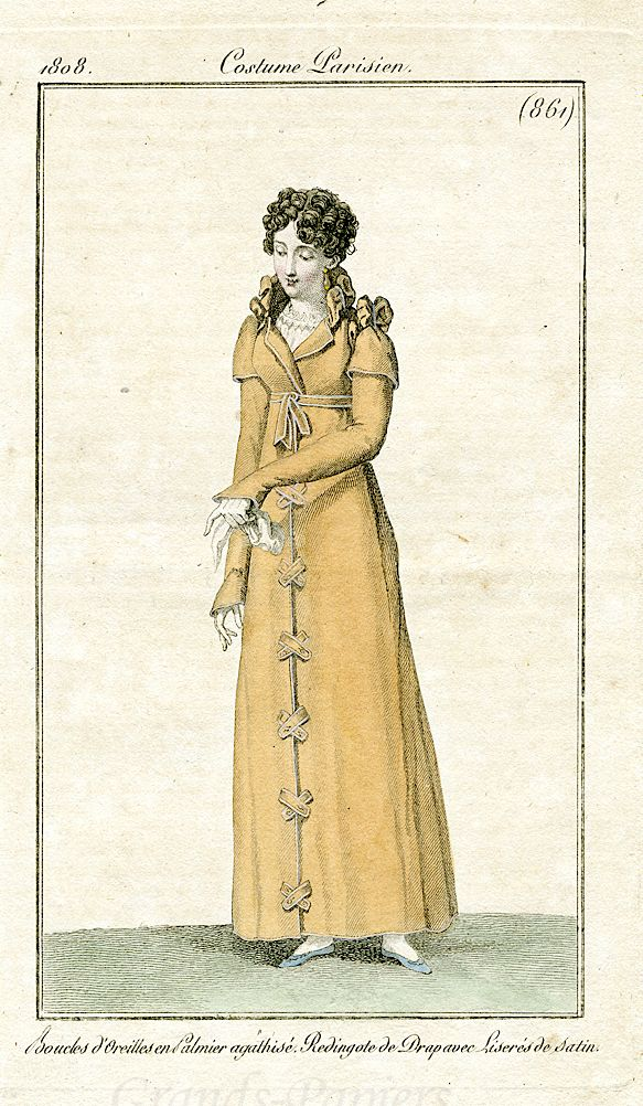 1808 Costume Parisien 861: 1800S 1810S Outdoor, 1800 1820 Fashions, Plates, 1790, 1800 1809 Fashion, Costume, Empire Regency Federal, Parisien 1806 1807 1808