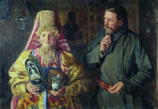 Ivan Semyonovich Kulikov - With the holiday (Blushed), 1911.