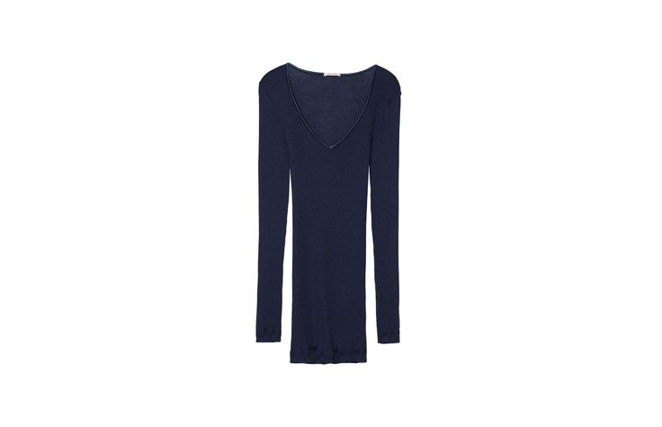 Silk and Wool Top with Satin-Detail V-Neck  for sale on Official Intimissimi online shop. Discover all the latest products and buy them on the Intimissimi online shop.