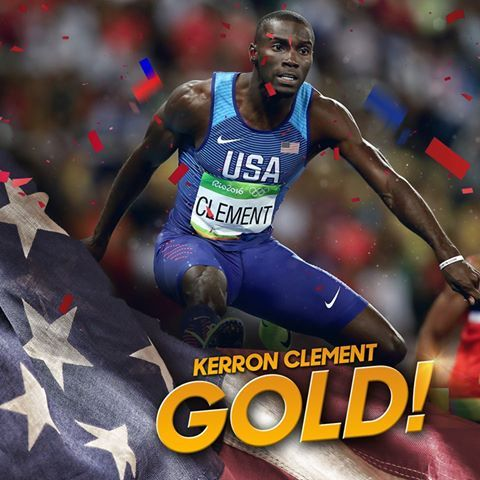 He does it! Kerron Clement wins gold in the men's 400m hurdles in 47.73! #Rio2016