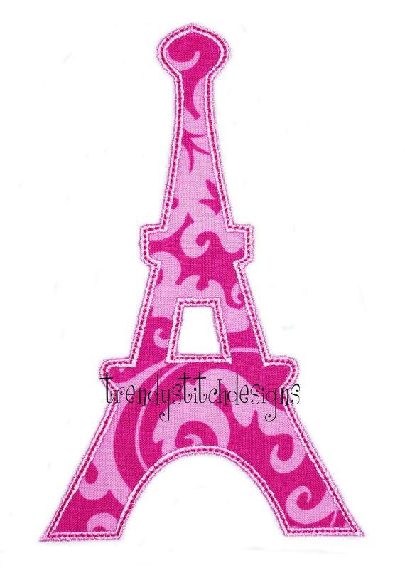 Eiffel tower applique design machine embroidery