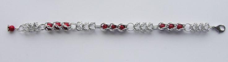 Bransoletka chainmaille wykonana z Bright Aluminium