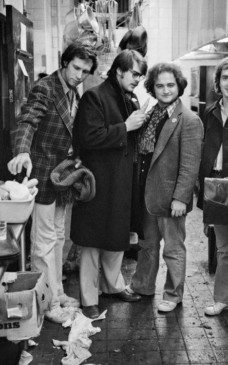 "Chevy Chase, Dan Aykroyd, John Belushi ~ Buds on ""Saturday Night Live""."
