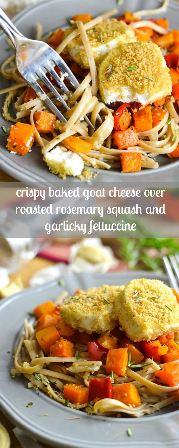 Crispy Baked Goat Cheese over Roasted Rosemary Squash and Garlicky Fettuccine recipe, a delicious fall dinner! 21 Day Fix: 1 1/2 Yellow, 1/2 Green, 1 Blue