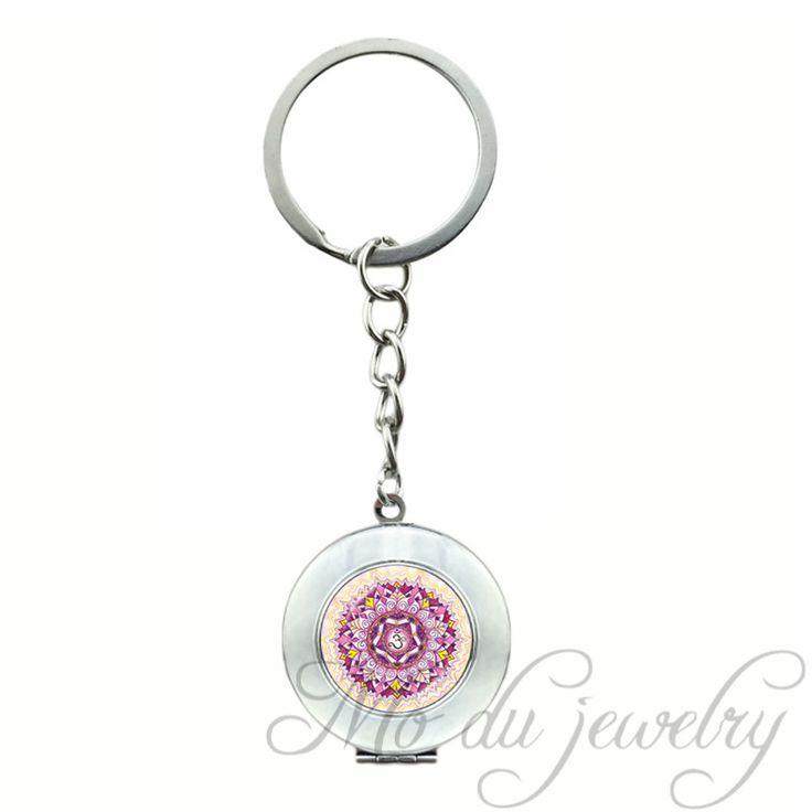 ОМ Медальон Кулон Многоцветный Мандала Брелок для Женщин Мужчин хна Йоги Подвески Стеклянный Купол Брелок Кольцо Цветок Индийского ювелирные изделия