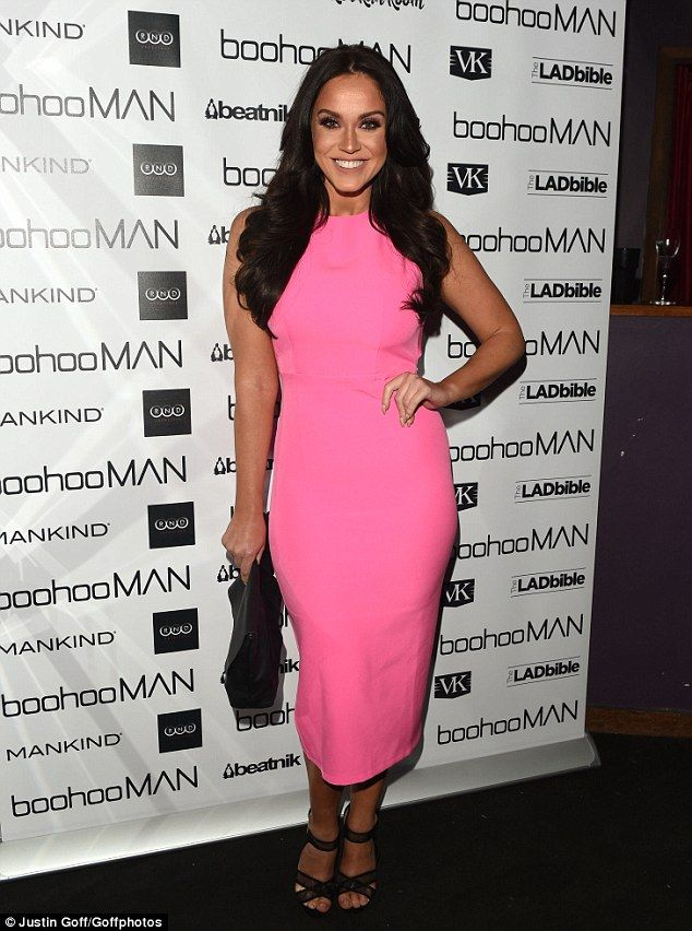 Pretty in pink! Cutting a striking figure at the Boohoo men's launch at London's Rah Rah Rooms on Thursday, Vicky Pattison, 28, dazzled as she headed into the party