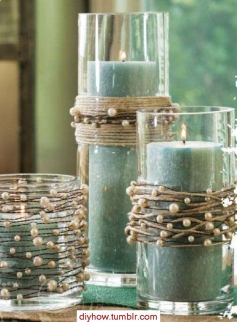String pearls on twine and wind around vases or candle holders