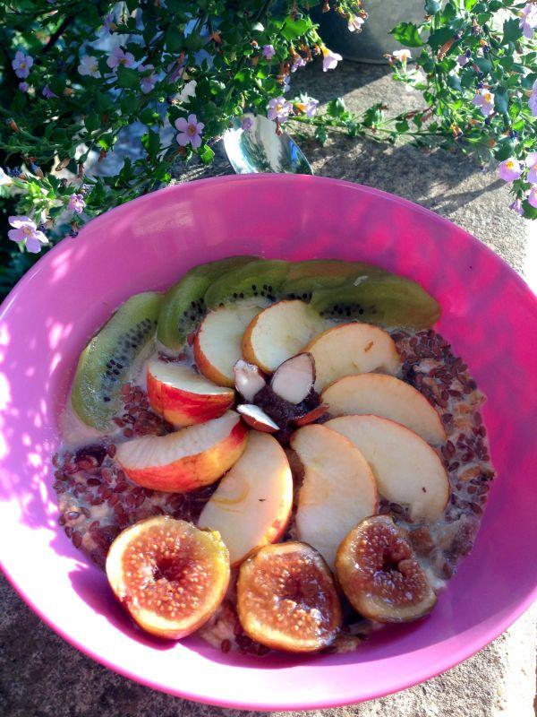 Porridge sans cuisson Par personne 40 g flocons 5 céréales ou flocons d'avoine 10 g graines de lin 150 ml lait de noisette (ou amande) 1 datte coupée en petits dés (j'utilise ici la variété Mazafati, très sucrée, et moins chère que les Medjool) 1 figue séchée coupée en petits dés 1 càs dés d'écorces d'orange confite 6 amandes Fruits frais : ici figues, pommes, kiwi. En ce moment abricots, pêches…  Facultatif : graines de pavot pour saupoudrer  Pour la sauce (pour 4 personnes) :