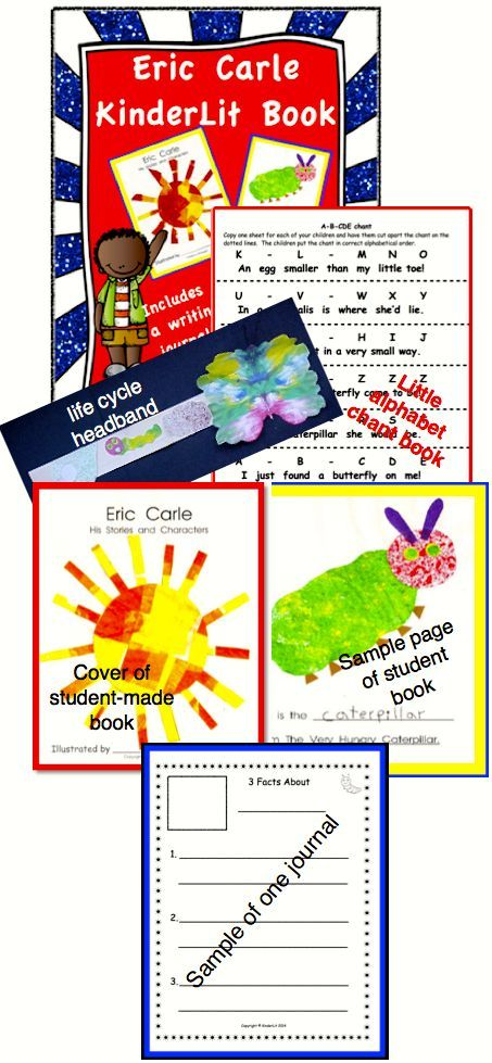 Every Kindergartner loves Eric Carle! Each child creates a copy of a book of his characters and gains an appreciation of Mr. Carle as an author and illustrator.  Includes much more!  Student journals with two sets of pages for beginner and more experienced writers!  Two activities - caterpillar life cycle headband and an ABC chant book for students to put in correct order! ($)
