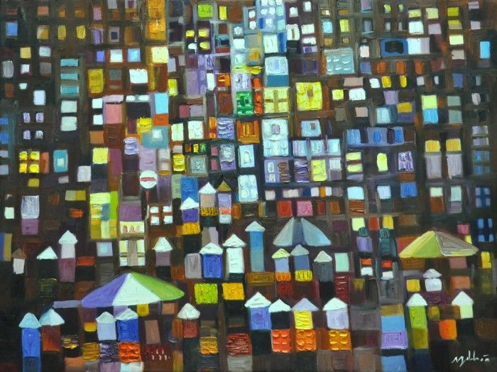 Hoa shares with us his impressions of the city at night. A mix of buildings, markets, and people liven the slowly transforming view of the city. Each individual carries personal story of a journey and are all cataloged in this array of dots of this orderly urban honeycomb.People Liven, Painting Art, African Paintings, Art Sumo, Buildings, The Cities, Affordable Painting, Cities Lights Art, The Roller Coasters