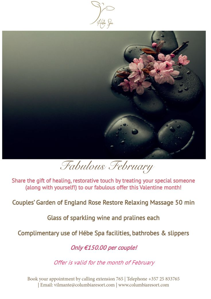 #Fabulous #February ! ❤️ #Share the #gift of #healing , restorative #touch by #treating your special someone (along with yourself!) to our fabulous Hébe #Spa #offer this #Valentine #month ! 💆‍♀️💆‍♂️🥂🍫 #pamper #relax #massage #couples #love #sparkling #wine #pralines #luxury #resort #pissouribay #cyprus 💙