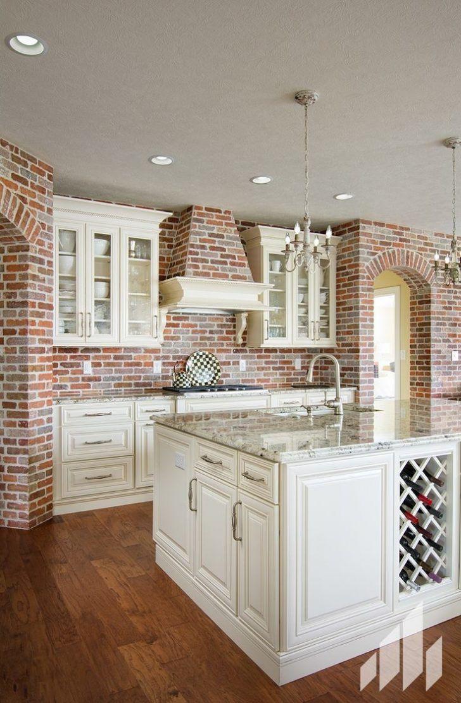 - Kitchen Backslash: Whitewash Brick Backsplash Gray Brick Veneer