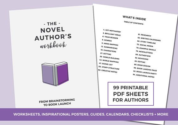 The Novel Author's Workbook Book Planner Worksheets. The Novel Author's Workbook is a printable, 99-page PDF workbook designed to help you have a successful novel writing + book launch experience. This workbook will be a fiction author's best friend as it helps you pre-write your novel, keep track of the details of your story and prompts you to develop it further. #novelplanner #printablenovelworkbook #writinganovel #writingtips #outlininganovel #storystructure