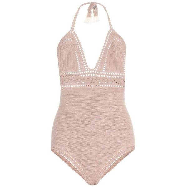 She Made Me Farah Crochet-Knit One-Piece Swimsuit (755 BRL) ❤ liked on Polyvore featuring swimwear, one-piece swimsuits, beige, crochet swimsuit, one piece bathing suits, she made me swimwear, macrame swimsuit and macrame swimwear