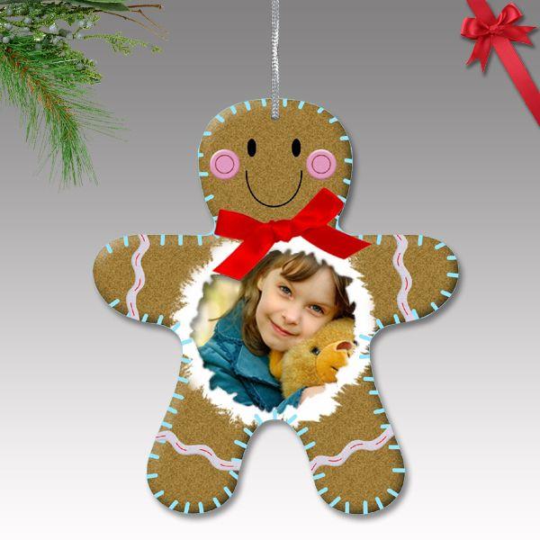 Fényképes karácsonyfa dísz - műanyag, mézeskalács