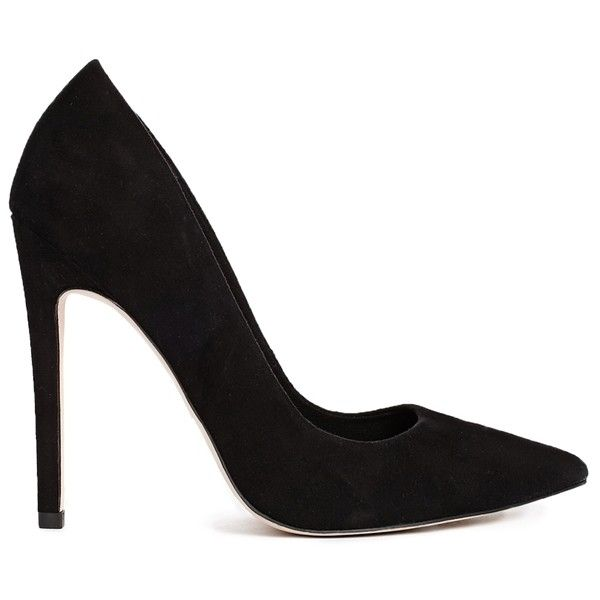 ASOS PREMIERE Pointed High Heels ($43) ❤ liked on Polyvore featuring shoes, pumps, heels, high heels, sapatos, black, asos, high heel pumps, black shoes and black heel shoes