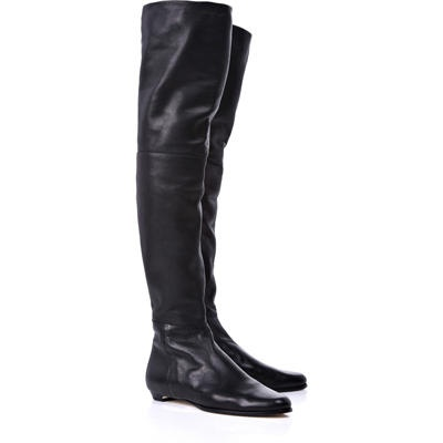 Black Leather Flat Knee High Boots (possibly source these from a horse riding store)