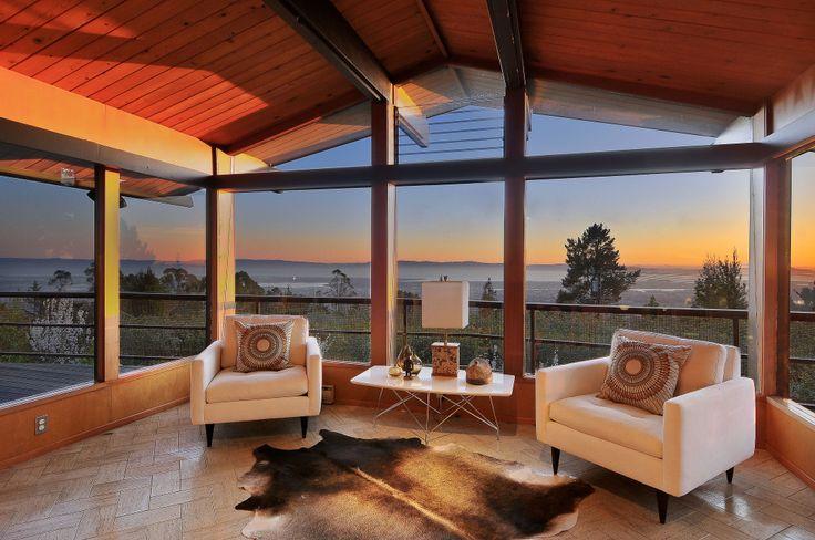 Mid-century, Hans Ostwald home {circa. 1959}.   San Francisco Bay views and photo {circa 2014}.