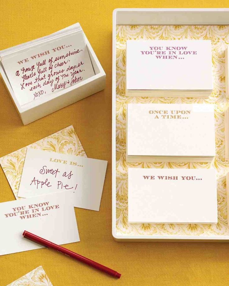 Bridal Shower Games That Are Actually Fun to Play | Martha Stewart Weddings - This Mad Libs-inspired bridal shower game is a playful way to gather both the names of attendees and their marital advice. Have each lady fill in a blank and write her name on the back of her card. Read the sentences—ranging from silly to serious—aloud and have the bride (or everyone!) guess from whom the words of wisdom came.