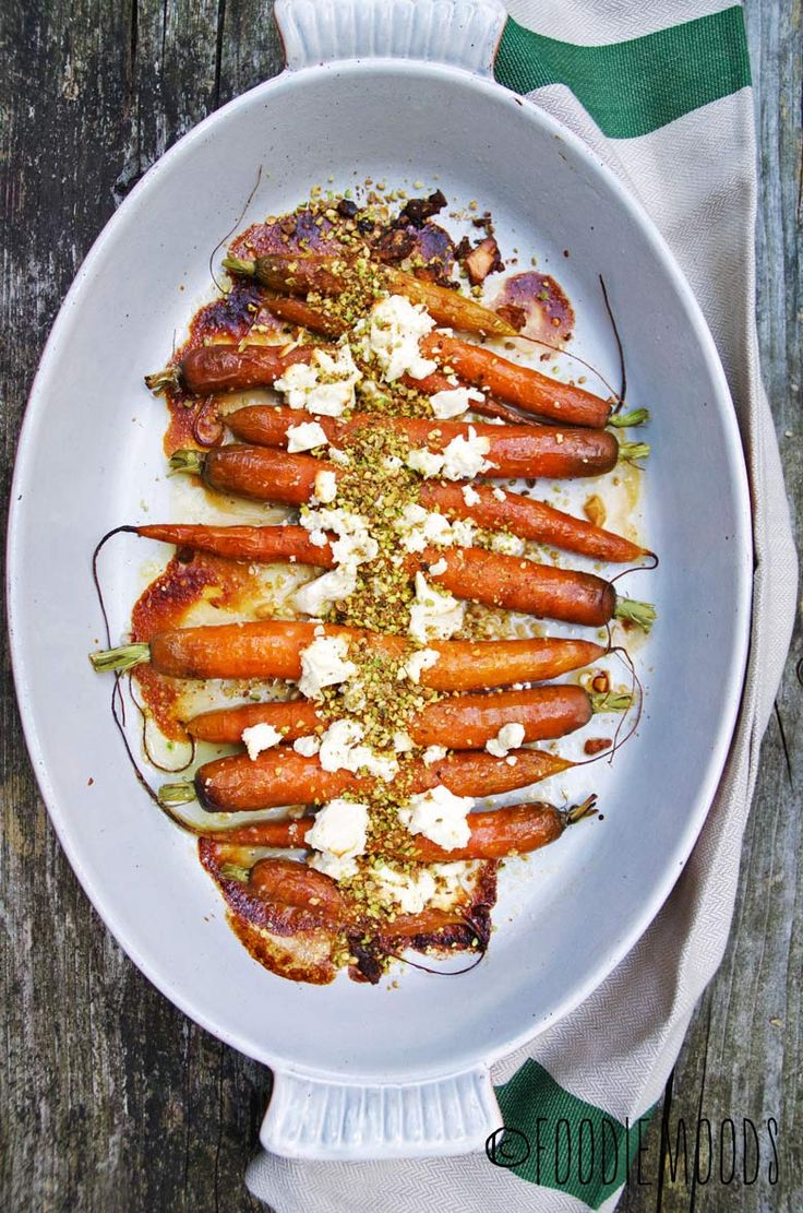 roasted honey-glazed carrots with feta and dukkah! Yum! Blog translates in any language.