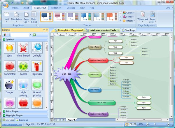 EDraw mind Mapping Software, free version.