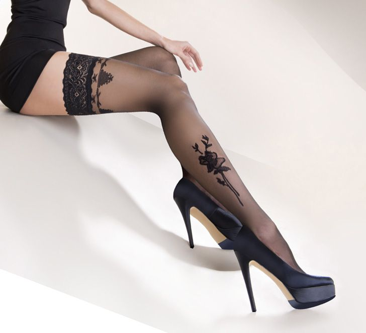 Gabriella Calze Lima Hold Up Stockings £14.99  Have a lovely flower motif on the lower leg with co-ordinating pattern below lace band. Double silicone band for comfort and fit. #gabriella #stockings