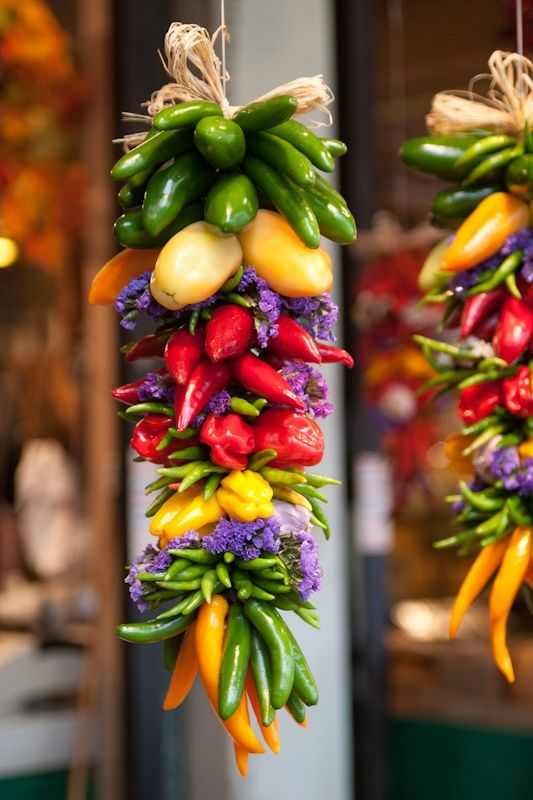 A colorful rista full of beautiful chillies.
