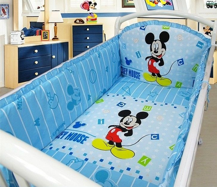 42.20$  Buy now - http://aliez9.worldwells.pw/go.php?t=32379379953 - Promotion! 6pcs Mickey Mouse Crib Baby bedding set jogo de cama infantil bed berco de bebe (bumpers+sheet+pillow cover)