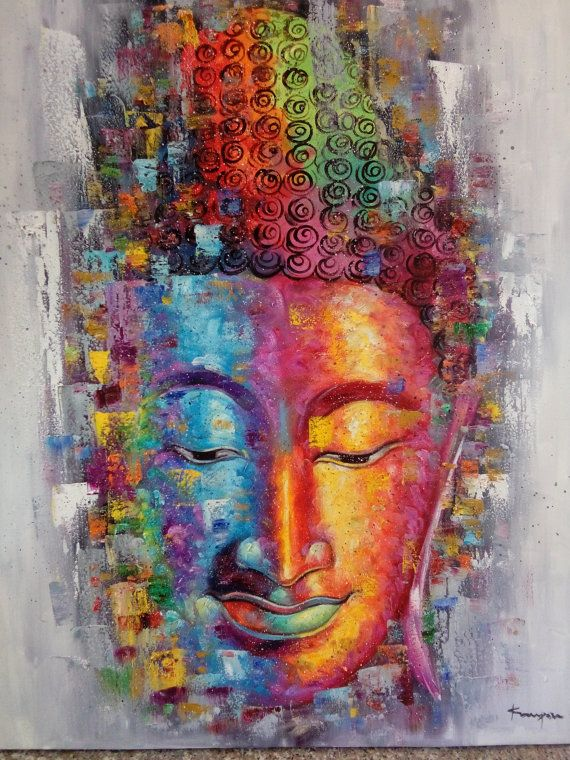Buddha pintura al óleo de la pintura Buddha.Buddha por Kampon