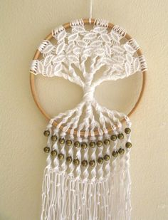 Macrame Tree of Life 6 Inch Hoop Wall Hanging, Tree Of Life Dream Catcher With Brass Bead Detail, Boho Home Decor, Hippie Art