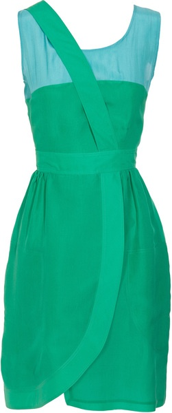 FENDI Contrasting Silk Dress with Tulip Skirt   dressmesweetiedarling