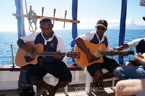 The Five Islands Cruise, serenading crew!