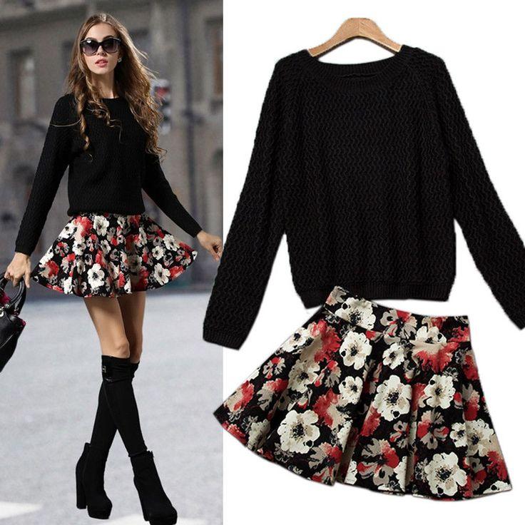 Charlee Cooper Black Jumper Floral Mini Skirt Set