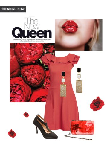 'The New Queen' by me on Limeroad featuring Non Precious Black Earrings, Solids Red Dresses with Red Clutches